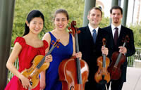 Jasper Quartet New Haven, CT l. to r., Sae Niwa, violin; Rachel Henderson Freivogel, cello; J Freivogel, violin; Sam Quintal, viola.