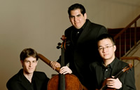 N-E-W Trio New York l. to r., Gal Nyska, cello; Julio Elizalde, piano; Andrew Wan, violin