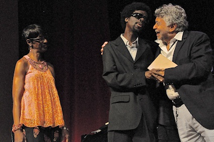 Pianist Jermaine Gardner with mother Jaqui and Monty Alexander