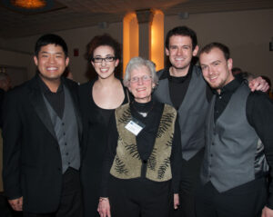 Volunteer/host Chloe Pitard with Wasmuth Quartet (now named Verona Quartet)